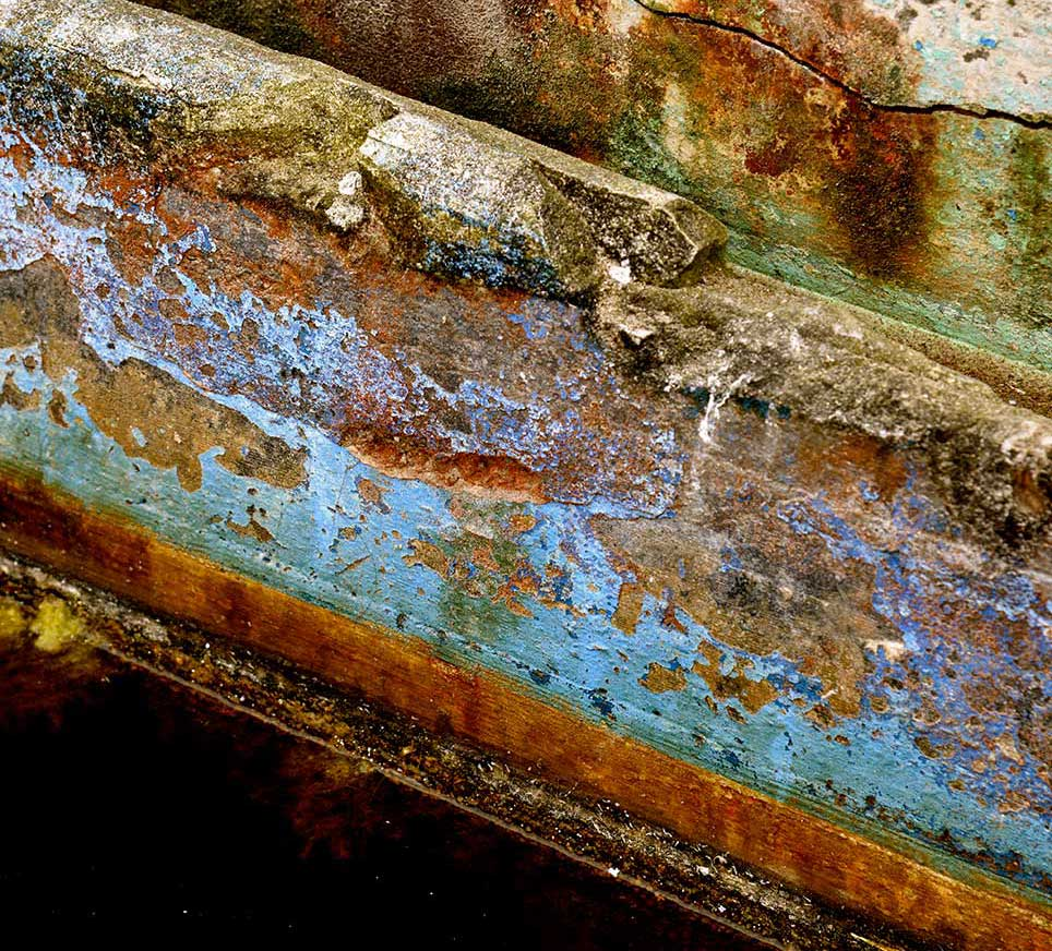 rust, paint, blue, baths, diagonal, abstract