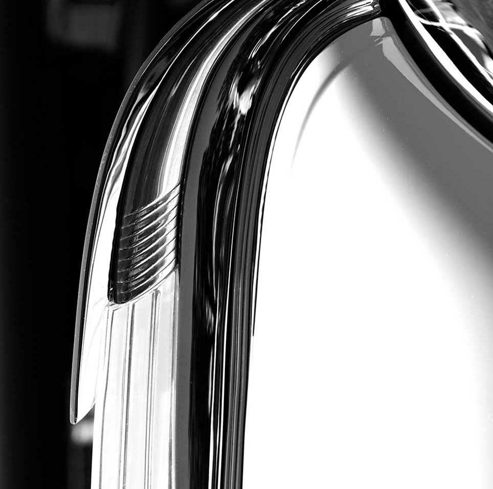 curve, art deco, abstract, chrome, modern, black and white, automobile
