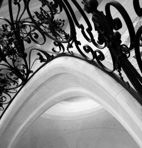 building, ironwork, abstract, black and white, ceiling, Paris