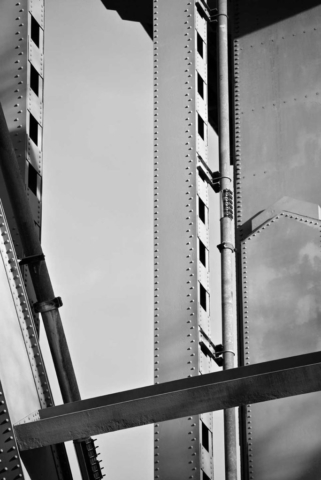bridge, black and white, abstract, silhouette, Cleveland, metal, Ohio, shadow