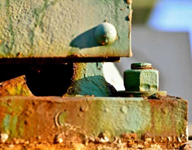 bridge, Cleveland, green, rust, rivet, metal, abstract, Ohio