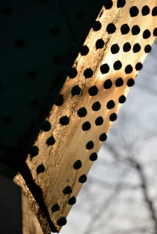 bridge, Cleveland, green, gold, rust, rivet, metal, abstract, Ohio