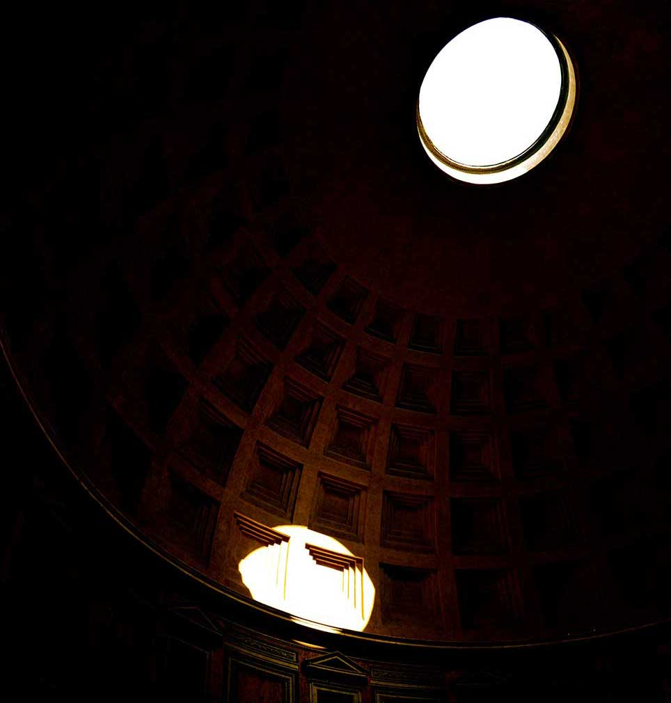 gold, building, Rome, parthenon, circle, shadow, sunlight, Italy