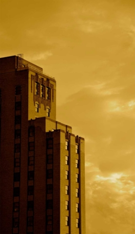 modern, shadow, dusk, art deco, building, Cleveland, gold
