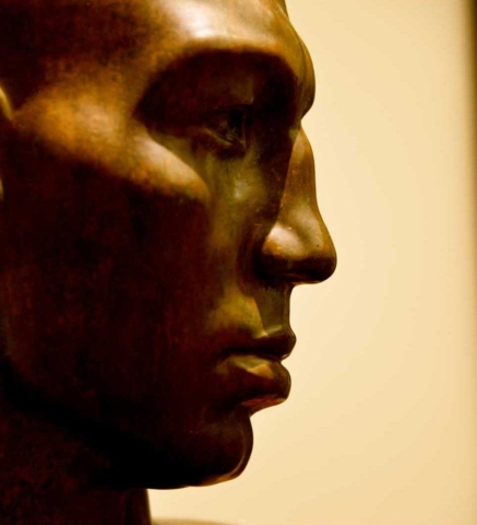 shadow, art deco, modern, abstract, profile, Copenhagen, sculpture, gold