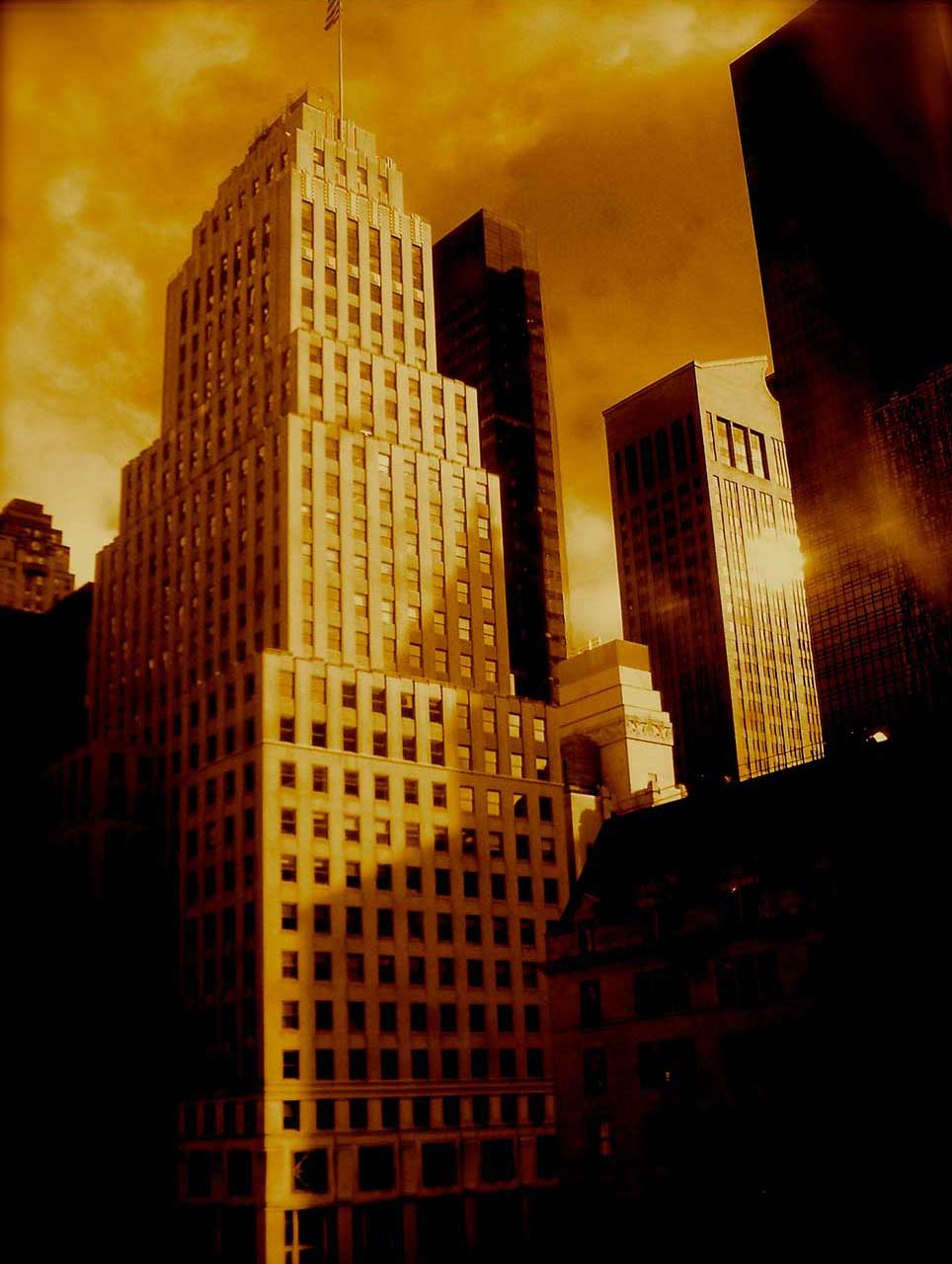 urban, art deco, dusk, Manhattan, building, shadow, New York City, gold
