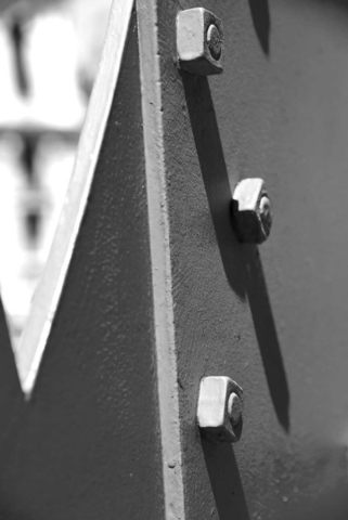 sculpture, black and white, Venice, rivets, Guggenhiem, abstract, shadow, light, bridge